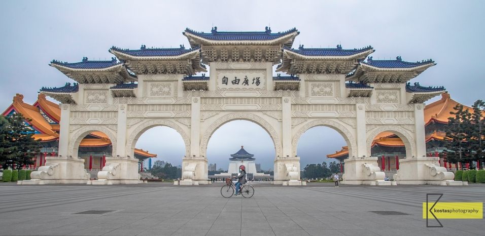 Anywhere in Taiwan if you wait long enough you will have a bike in your frame. Chiang Kai-shek Memorial Hall , Taipei.