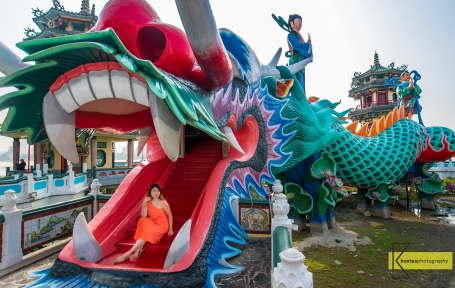 In the Dragon's mouth (literally) which is the entrance to the Spring and Autumn Pavilions (春秋御閣). Kaohsiung, Taiwan.