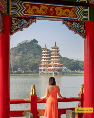Looking at the Dragon-Tiger Pagodas through the window of the Wuliting 五里亭 Pagoda. Kaohsiung, Taiwan.