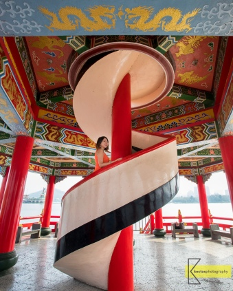 Inside view of the Wuliting (五里亭) Pagoda. Excellent art decoration. Kaohsiung, Taiwan.