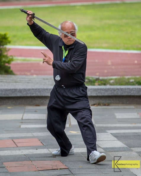 Paying no attention to my camera this man was exercising his Martial arts routine at the Confucius Temple garden in Tainan. A fine example of concentration.