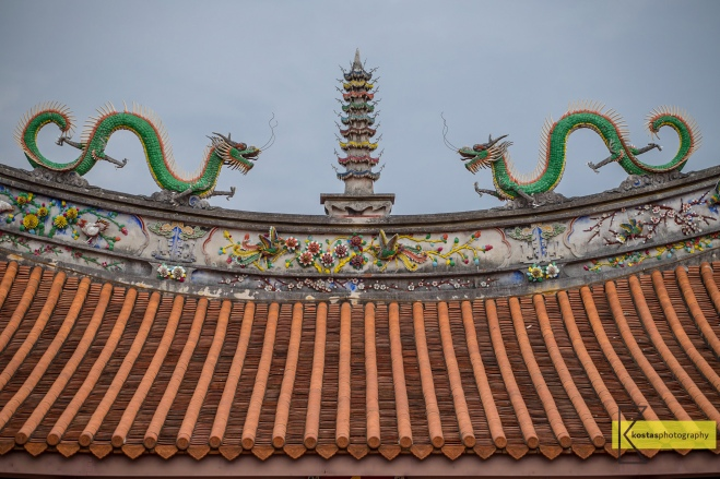 Confucius Temple in Tainan. Dragons roof decoration. The power of minimalism. Tainan city, Taiwan.