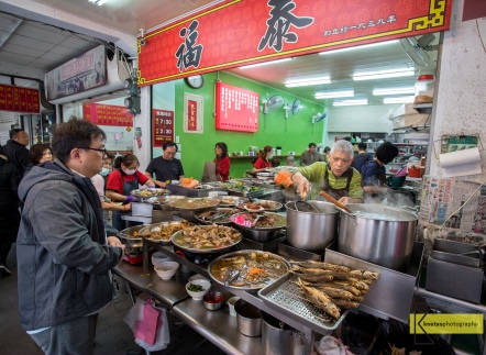 Popular location of Street food in Tainan, Taiwan.